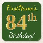 [ Thumbnail: Green, Faux Gold 84th Birthday + Custom Name Paper Coaster ]