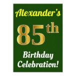 [ Thumbnail: Green, Faux Gold 85th Birthday Celebration + Name Invitation ]