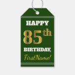 [ Thumbnail: Green, Faux Gold 85th Birthday + Custom Name Gift Tags ]