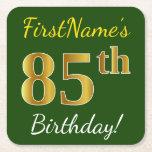 [ Thumbnail: Green, Faux Gold 85th Birthday + Custom Name Paper Coaster ]