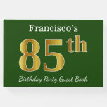 [ Thumbnail: Green, Faux Gold 85th Birthday Party + Custom Name Guest Book ]
