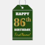 [ Thumbnail: Green, Faux Gold 86th Birthday + Custom Name Gift Tags ]