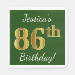 [ Thumbnail: Green, Faux Gold 86th Birthday + Custom Name Napkin ]