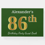 [ Thumbnail: Green, Faux Gold 86th Birthday Party + Custom Name Guest Book ]