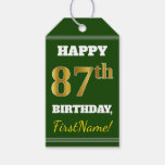 [ Thumbnail: Green, Faux Gold 87th Birthday + Custom Name Gift Tags ]