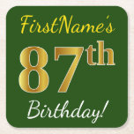 [ Thumbnail: Green, Faux Gold 87th Birthday + Custom Name Paper Coaster ]