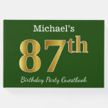 [ Thumbnail: Green, Faux Gold 87th Birthday Party + Custom Name Guest Book ]