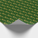 [ Thumbnail: Green, Faux Gold 87th (Eighty-Seventh) Event Wrapping Paper ]