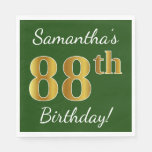 [ Thumbnail: Green, Faux Gold 88th Birthday + Custom Name Napkin ]