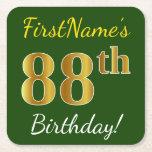 [ Thumbnail: Green, Faux Gold 88th Birthday + Custom Name Paper Coaster ]