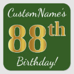 [ Thumbnail: Green, Faux Gold 88th Birthday + Custom Name Sticker ]