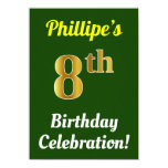 [ Thumbnail: Green, Faux Gold 8th Birthday Celebration + Name Invitation ]