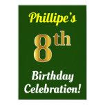 [ Thumbnail: Green, Faux Gold 8th Birthday Celebration + Name Invitation ]