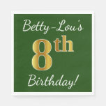 [ Thumbnail: Green, Faux Gold 8th Birthday + Custom Name Paper Napkin ]