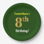 [ Thumbnail: Green, Faux Gold 8th Birthday + Custom Name Paper Plate ]