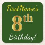 [ Thumbnail: Green, Faux Gold 8th Birthday + Custom Name Paper Coaster ]