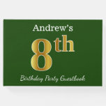 [ Thumbnail: Green, Faux Gold 8th Birthday Party + Custom Name Guest Book ]