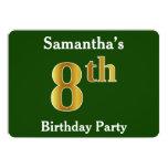 [ Thumbnail: Green, Faux Gold 8th Birthday Party + Custom Name Invitation ]