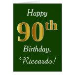 Hand shaped Green, Faux Gold 90th Birthday   Custom Name Card
