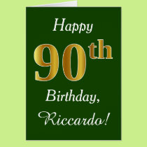 Green, Faux Gold 90th Birthday   Custom Name Card