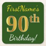[ Thumbnail: Green, Faux Gold 90th Birthday + Custom Name Paper Coaster ]