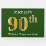 [ Thumbnail: Green, Faux Gold 90th Birthday Party + Custom Name Guest Book ]