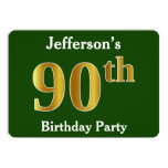 [ Thumbnail: Green, Faux Gold 90th Birthday Party + Custom Name Invitation ]