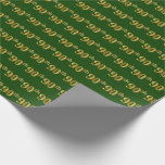 [ Thumbnail: Green, Faux Gold 90th (Ninetieth) Event Wrapping Paper ]