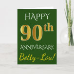 [ Thumbnail: Green, Faux Gold 90th Wedding Anniversary + Name Card ]