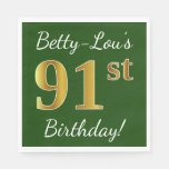 [ Thumbnail: Green, Faux Gold 91st Birthday + Custom Name Napkin ]