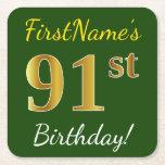 [ Thumbnail: Green, Faux Gold 91st Birthday + Custom Name Paper Coaster ]