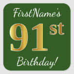 [ Thumbnail: Green, Faux Gold 91st Birthday + Custom Name Sticker ]