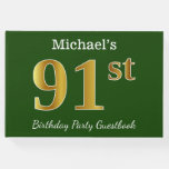 [ Thumbnail: Green, Faux Gold 91st Birthday Party + Custom Name Guest Book ]