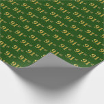 [ Thumbnail: Green, Faux Gold 91st (Ninety-First) Event Wrapping Paper ]