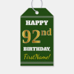 [ Thumbnail: Green, Faux Gold 92nd Birthday + Custom Name Gift Tags ]
