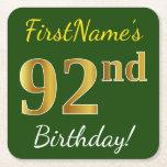 [ Thumbnail: Green, Faux Gold 92nd Birthday + Custom Name Paper Coaster ]