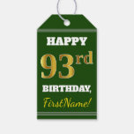 [ Thumbnail: Green, Faux Gold 93rd Birthday + Custom Name Gift Tags ]