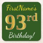 [ Thumbnail: Green, Faux Gold 93rd Birthday + Custom Name Paper Coaster ]