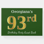 [ Thumbnail: Green, Faux Gold 93rd Birthday Party + Custom Name Guest Book ]