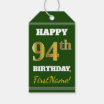 [ Thumbnail: Green, Faux Gold 94th Birthday + Custom Name Gift Tags ]