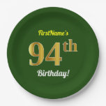 [ Thumbnail: Green, Faux Gold 94th Birthday + Custom Name Paper Plate ]