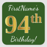 [ Thumbnail: Green, Faux Gold 94th Birthday + Custom Name Sticker ]