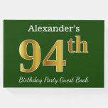 [ Thumbnail: Green, Faux Gold 94th Birthday Party + Custom Name Guest Book ]