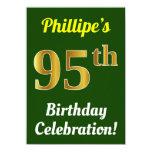 [ Thumbnail: Green, Faux Gold 95th Birthday Celebration + Name Invitation ]