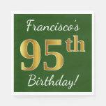 [ Thumbnail: Green, Faux Gold 95th Birthday + Custom Name Napkin ]