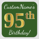 [ Thumbnail: Green, Faux Gold 95th Birthday + Custom Name Sticker ]