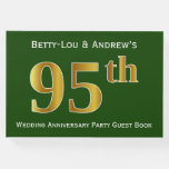 [ Thumbnail: Green, Faux Gold 95th Wedding Anniversary Party Guest Book ]