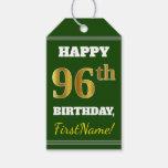 [ Thumbnail: Green, Faux Gold 96th Birthday + Custom Name Gift Tags ]