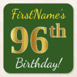 [ Thumbnail: Green, Faux Gold 96th Birthday + Custom Name Paper Coaster ]