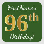 [ Thumbnail: Green, Faux Gold 96th Birthday + Custom Name Sticker ]